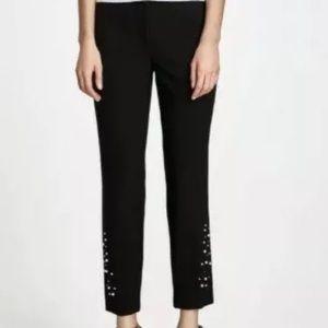 Zara crop pants with pearl bottom M NWT
